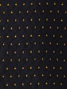 Robe fille bleu nocturne en jacquard pois lurex doré  BETILA 20 / 20IU19C3N18713