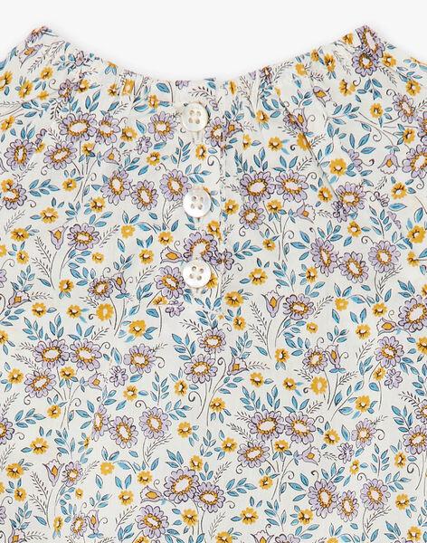 Barboteuse vanille et jaune imprimé liberty en voile de coton fille CHRISTELLE 21 / 21VV2213N27114