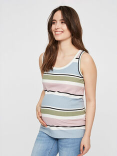 Débardeur de grossesse bio à rayures multicolores MLNEWAURA TOP / 19VW2682N3E099