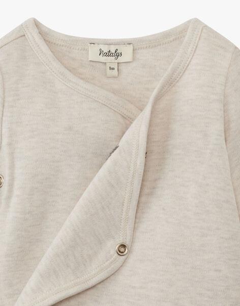 Body mixte beige chiné en coton pima  ARIEL 20 / 20PV2416N2DA013