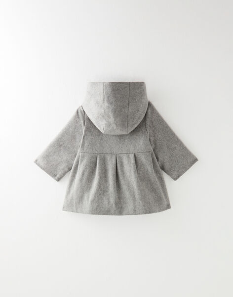 Manteau fille en drap de laine gris chiné   BEATRICE 20 / 20IU1981N16J920