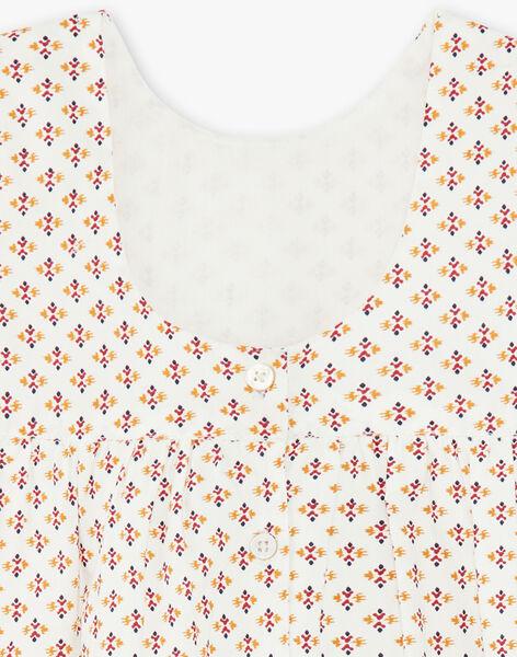 Robe et bloomer vanille et orange à imprimé ikat en coton fille CAMILLE 21 / 21VU1923N18114