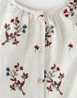 Robe fille beige chiné avec joli motif brodé oiseaux et fleurs   BRUNETTE 20 / 20IU19C2N18A011