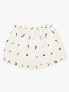 Short fille en imprimé fleurs brodé vanille   ALODIE 20 / 20VU1922N02114