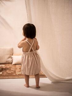 Robe et bloomer vanille et brique à rayures en coton fille COSIMA 21 / 21VU1924N18114