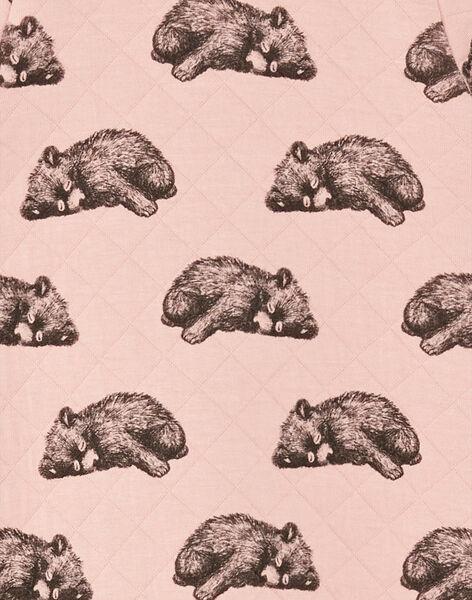 Grenouillère fille rose zippé imprimé ours en tubic BALEANE-EL / PTXX8812N31303