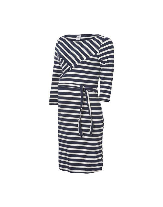 Robe de grossesse à rayures noires et blanches MLSELINA DRESS / 19VW2685N18090