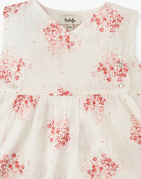 Robe chasuble et bloomer fille en voile de coton vanille rayé et imprimé floral  ALIZE 20 / 20VU1911N18114