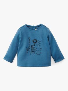 Tee shirt uni bleu natier manche longue avec motif animaux de la jungle garçon  ANDERSON 20 / 20VU2013N0F201