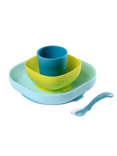 Set de vaisselle 4 pièces en silicone bleu SET VAIS BLEU 4 / 18PRR2001CREC218