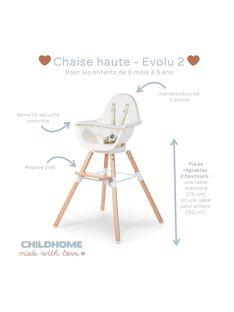 Chaise haute EVOLU 2 blanche/pieds bois CHH EV2 BLA BOI / 16PRR2003CHH000