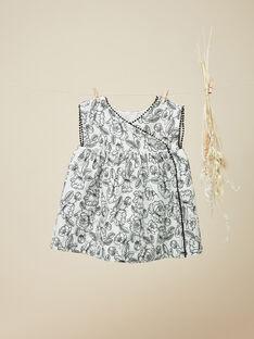 Robe fleurie en twill manches courtes écru chiné fille  VANNY 19 / 19IU1931N18006