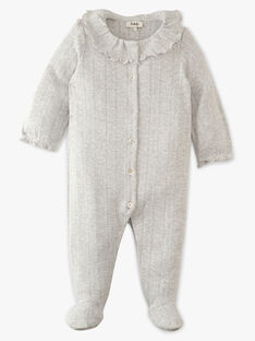 Grenouillère fille col collerette en côtes gris chiné moyen coton pima ANOUMEANE-EL / PTXX6514N32J922