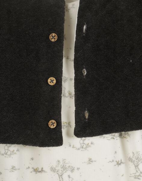 Ensemble combinaison imprimée et cardigan noir en velours éponge mixte TAELIOT 19 / 19PV2421N19114
