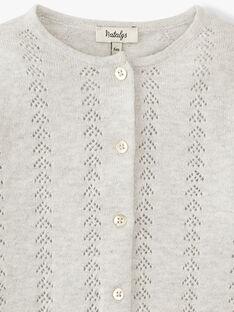 Cardigan fille coton cachemire couleur gris chiné moyen ABIGAEL 20 / 20VU1912N11J922