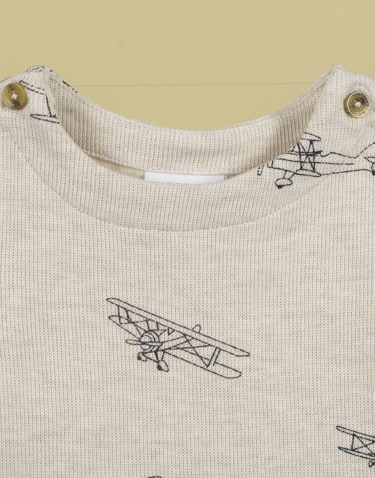 T-shirt manches longues écru chiné garçon TOBOGGAN 19 / 19VU2011N0F006