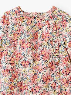 Blouse fille imprimé fleurs Liberty en coton vanille ALALOU 20 / 20VU1917N09114