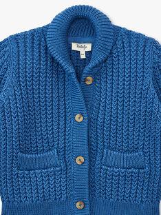 Gilet à col chale en point fantaisie bleu moyen garçon ANISTON 20 / 20VU2021N12208