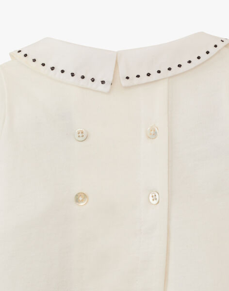 Ensemble fille tee-shirt vanille à col brodé et pantalon en côtes fantaisie ardoise ALYPSO 20 / 20PV2211N19114