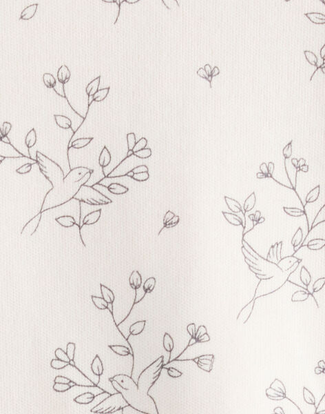Tee-shirt fille imprimé oiseaux et fleurs en interlock rose tendre   BANABELLE 20 / 20IV2251N0C307