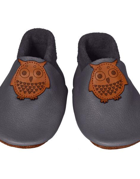 Chaussons en cuir gris Hibou L CHAU L HIBOUGRI / 15PSSO053AHY940