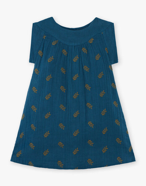 Robe enfant fille bleu paon brodée sur gaze de coton biologique CORANTINE 468 2 / 21V129114N18720