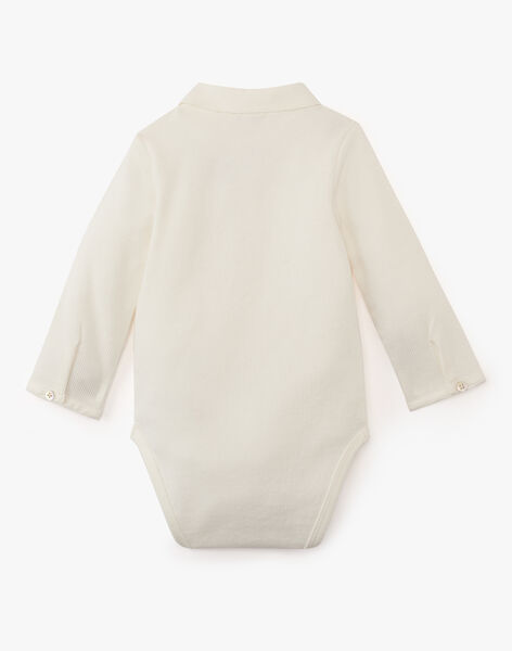 Body uni vanille bi matière manche longue garçon  ASTRE-EL / PTXU2014N29114
