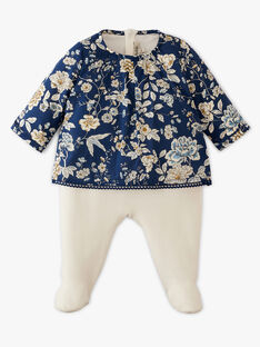 Grenouillère velours fille avec blouse Liberty intégrée AROSALIA 20 / 20PV7116N31114
