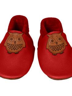 Chaussons en cuir rouge Hibou M CHAU M HIBOUROU / 15PSSO050AHY050