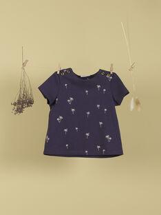 T-shirt indigo à broderies palmiers garçon TECKEL 19 / 19VU2032N0E703