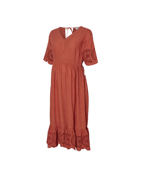 Robe de grossesse à broderies Mamalicious rouge brique MLSHILOH ROBE / 19IW2667N18506