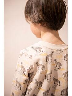Sweat enfant garçon imprimé sur molleton coton pima couleur naturel  CLAUDEL 468 21 / 21V129211N13009