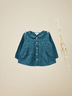 Chemisier en coton avec motif floral vert gris fille   VEDONNA 19 / 19IU1921N09631