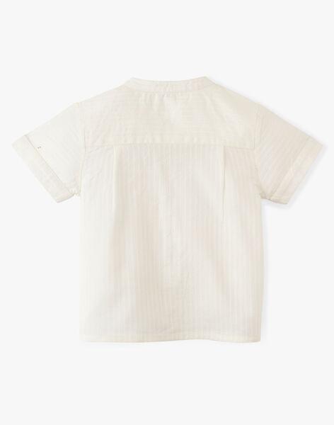 Chemise vanille à rayures en relief ton/ton manche courte garçon  ALVARO 20 / 20VU2024N0A114