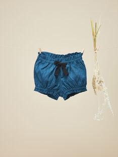 Short en coton avec motif floral bleu fille VODETTE 19 / 19IV2211N02631