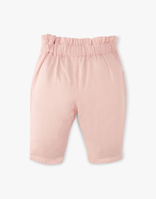 Pantalon fille coupe carotte rose dragée en lyocell  ADOUMIA 20 / 20VV2211N03D310