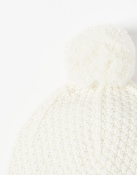 Bonnet fille vanille tricot fantaisie en laine mérinos et cachemire  BRIANE 20 / 20IU60C1N49114