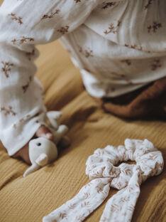 Chouchou enfant fille vanille imprimé sur gaze de coton biologique COMASSI 468 21 / 21V129626N95114
