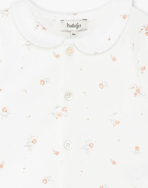 Top col fille manches longues en coton pima vanille imprimé petites fleurs  DINETTE 21 / 21PV2211N0C114