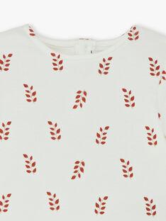 T-shirt fille manches longues vanille imprimé CAROLANE 21 / 21VU1911N0F114