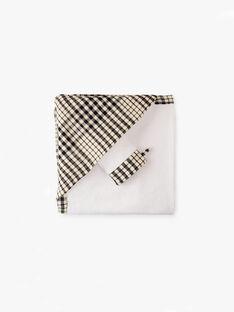 Cape de bain à carreaux vichy noir et vanille mixte  AUBIN-EL / PTXQ6311N73114