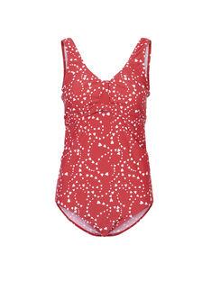 Maillot de bain rouge à imprimés de grossesse et d'allaitement MLRUSSEL HEART / 19VW2683N40050