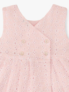 Robe et bloomer fille broderie anglaise couleur rose dragé   AZELIE 20 / 20VU1928N18D310
