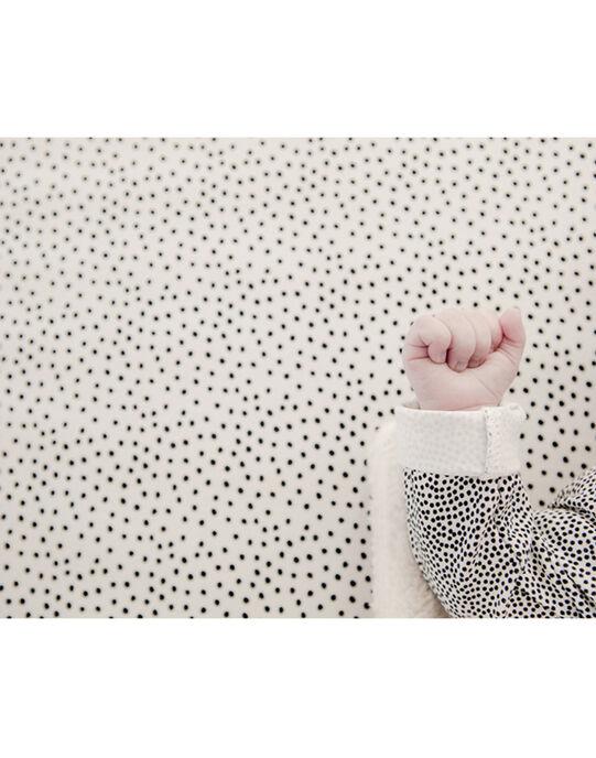 Drap-housse Cozy Dots Mies & Co à pois noirs 40x80 cm 0-6 mois DRAP H COZY DOT / 19PCTE007DRA999