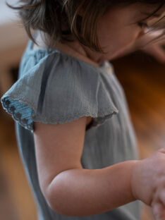 Barboteuse bleu clair en crêpe de coton fille CYBILLE 21 / 21VU1921N27219