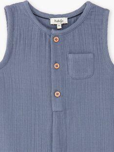 Combinaison courte garçon bleu horizon en gaze de coton biologique  CONRAD 21 / 21VU2011N26216