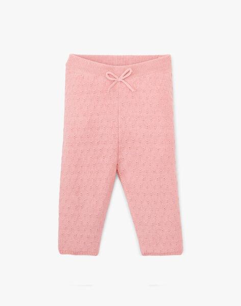 Legging en tricot coton cachemire couleur rose thé ANELMIE 20 / 20VU1912N3AD329