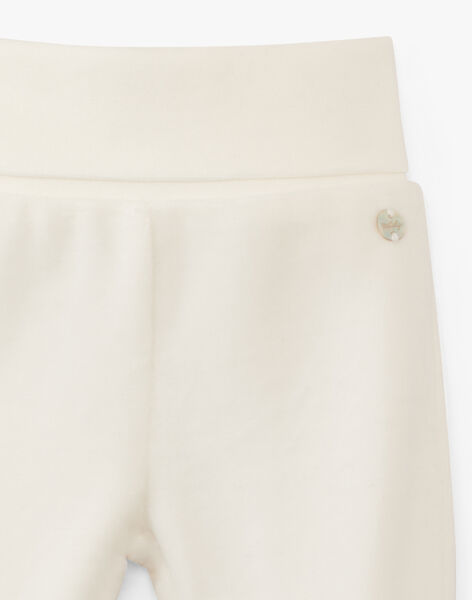 Pantalon à pieds en velours vanille  ARDENNE 20 / 20PV2414N3A114