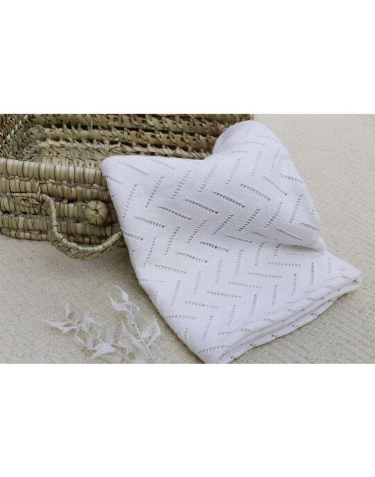 Couverture cachemire mixte en tricot vanille 80x80 cm ALICOU 20 / 20PV5911N81114