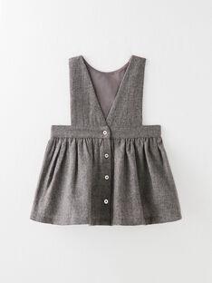 Robe tablier fille en lainage gris et touche de lurex  BECKY 20 / 20IU1955N18J908